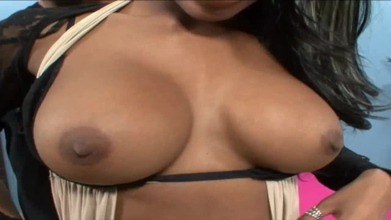 Ebony girl gets fucked and cum on tits